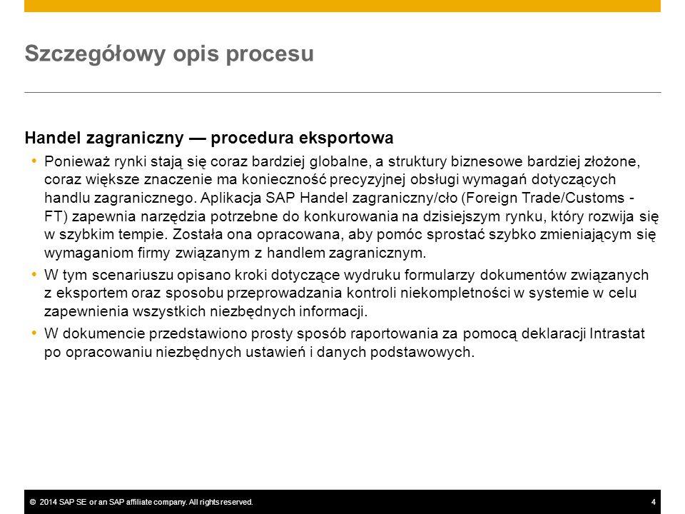 ©2014 SAP SE or an SAP affiliate company. All rights reserved.4 Szczegółowy opis procesu Handel zagraniczny — procedura eksportowa  Ponieważ rynki st