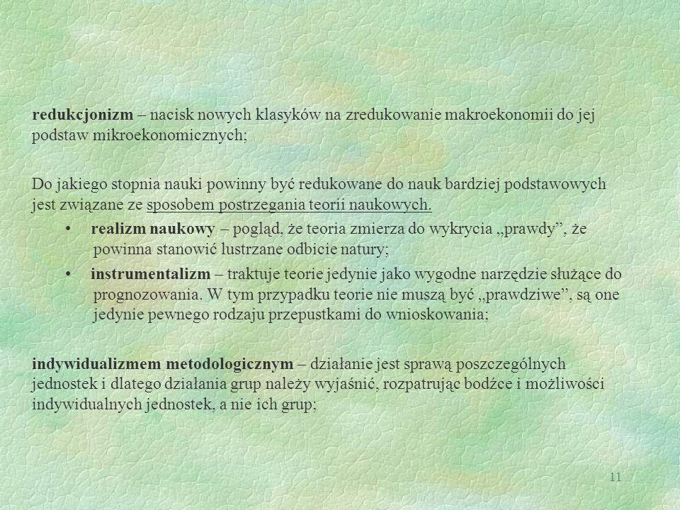 11 redukcjonizm – nacisk nowych klasyków na zredukowanie makroekonomii do jej podstaw mikroekonomicznych; Do jakiego stopnia nauki powinny być redukow