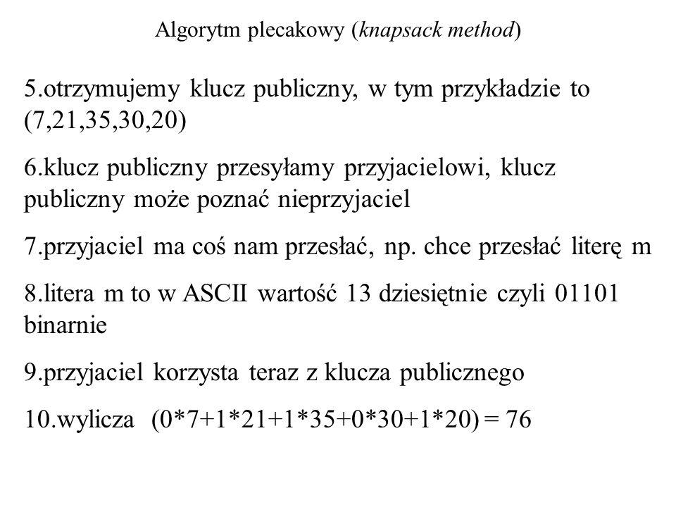Algorytm plecakowy (knapsack method) 5.otrzymujemy klucz publiczny, w tym przykładzie to (7,21,35,30,20) 6.klucz publiczny przesyłamy przyjacielowi, k