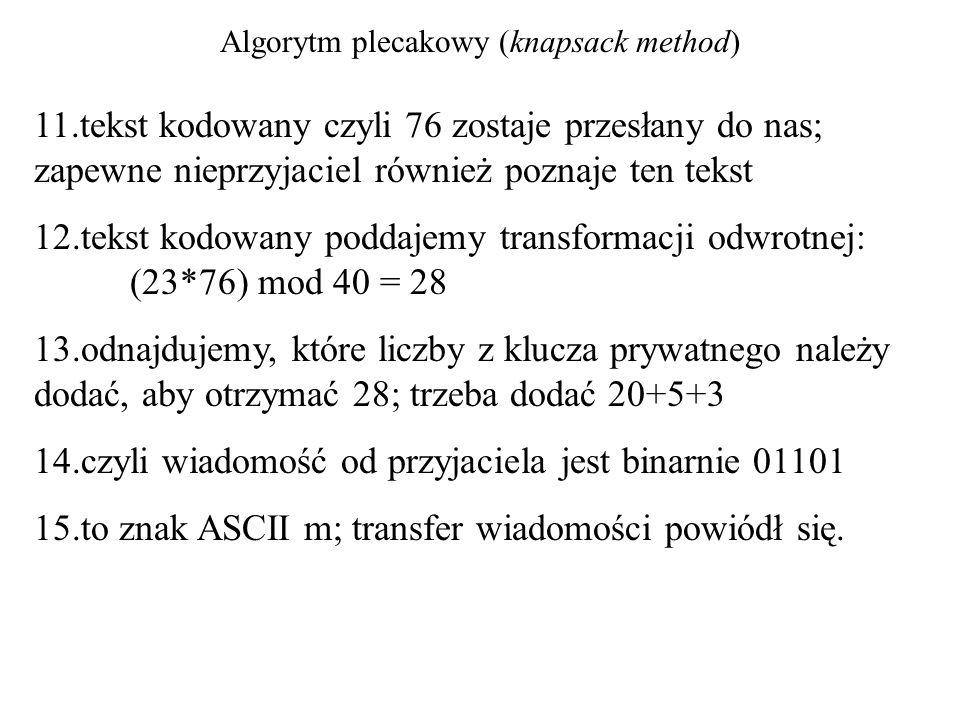 Algorytm plecakowy (knapsack method) 11.tekst kodowany czyli 76 zostaje przesłany do nas; zapewne nieprzyjaciel również poznaje ten tekst 12.tekst kod