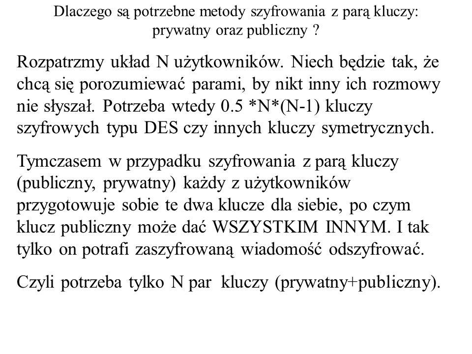 Dlaczego są potrzebne metody szyfrowania z parą kluczy: prywatny oraz publiczny ? Rozpatrzmy układ N użytkowników. Niech będzie tak, że chcą się poroz
