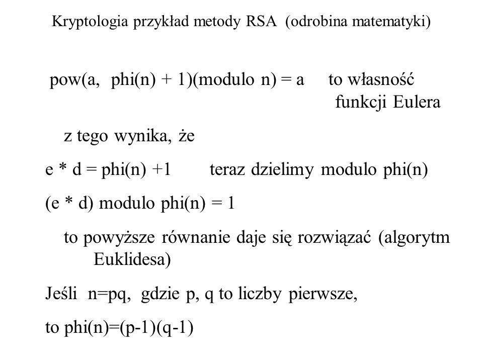 Kryptologia przykład metody RSA (odrobina matematyki) pow(a, phi(n) + 1)(modulo n) = a to własność funkcji Eulera z tego wynika, że e * d = phi(n) +1
