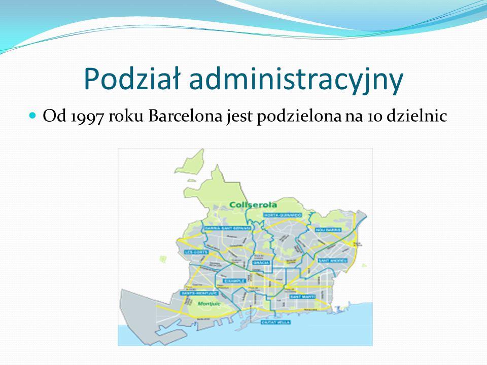 Podział administracyjny Od 1997 roku Barcelona jest podzielona na 10 dzielnic