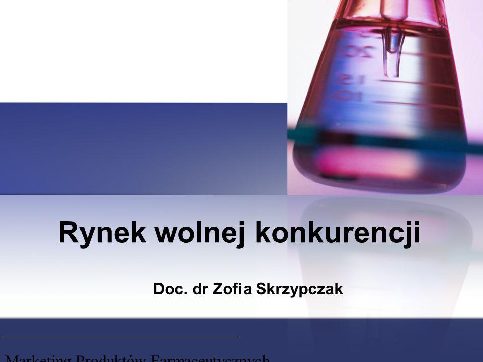 Marketing Produktów Farmaceutycznych Rynek wolnej konkurencji Doc. dr Zofia Skrzypczak