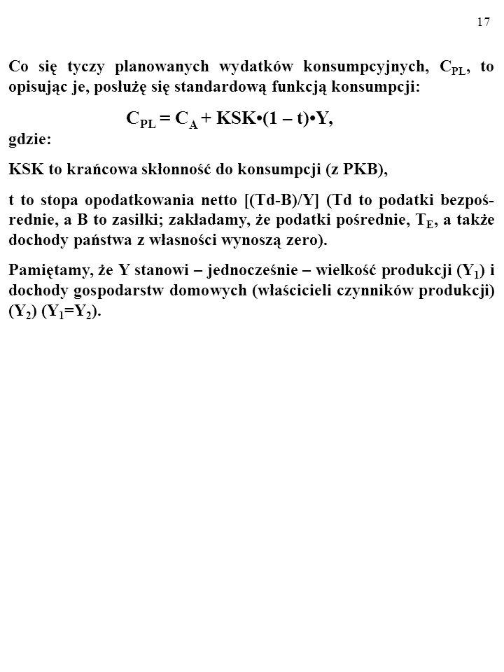 """16 I = I A - b i. b > 0, Współczynnik """"b i inwestycje autonomiczne, I A, a linia I..."""