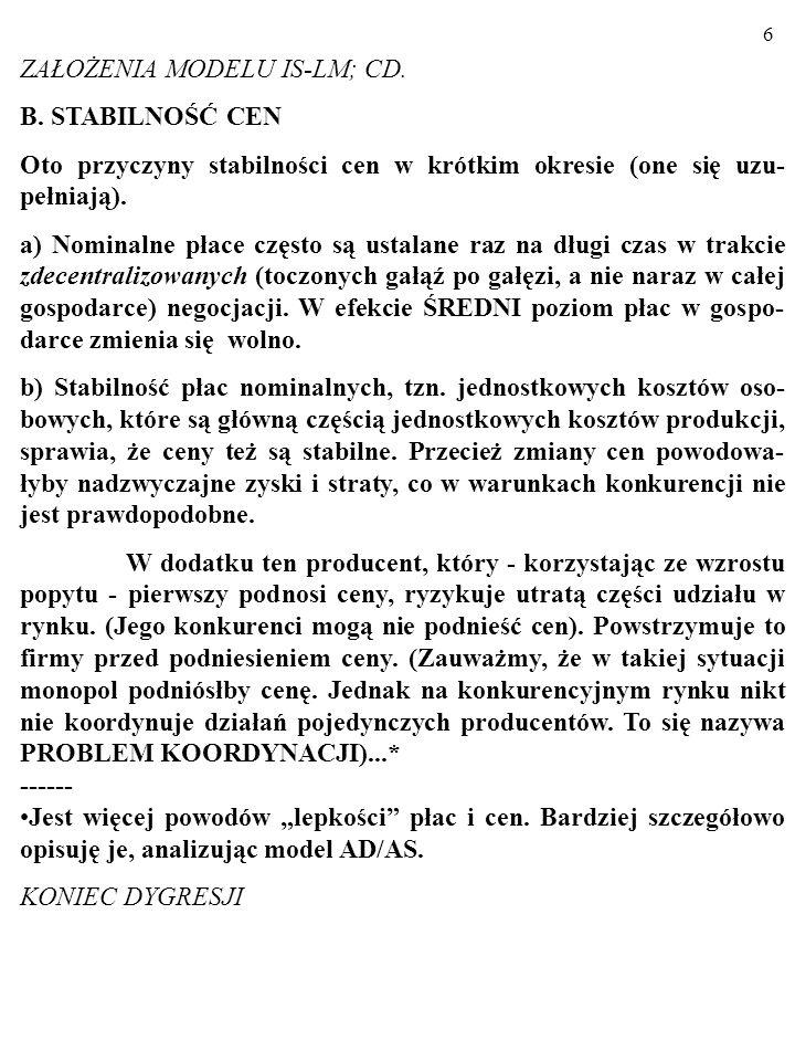 6 ZAŁOŻENIA MODELU IS-LM; CD.B.
