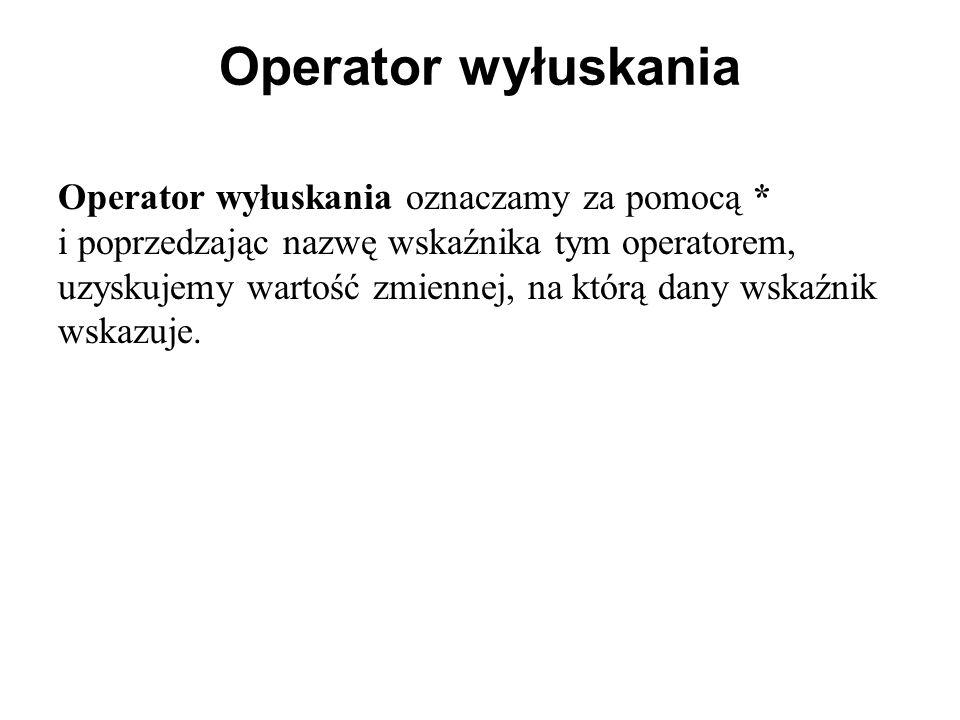 Operator wyłuskania Operator wyłuskania oznaczamy za pomocą * i poprzedzając nazwę wskaźnika tym operatorem, uzyskujemy wartość zmiennej, na którą dany wskaźnik wskazuje.