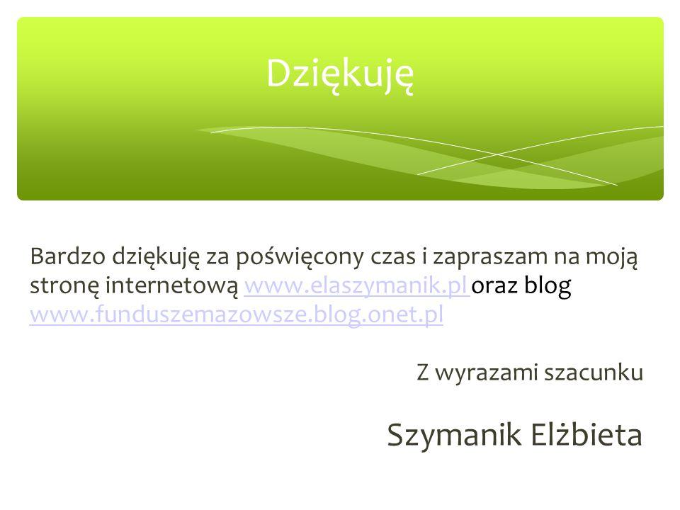 Dziękuję Bardzo dziękuję za poświęcony czas i zapraszam na moją stronę internetową www.elaszymanik.pl oraz blog www.funduszemazowsze.blog.onet.plwww.elaszymanik.pl Z wyrazami szacunku Szymanik Elżbieta