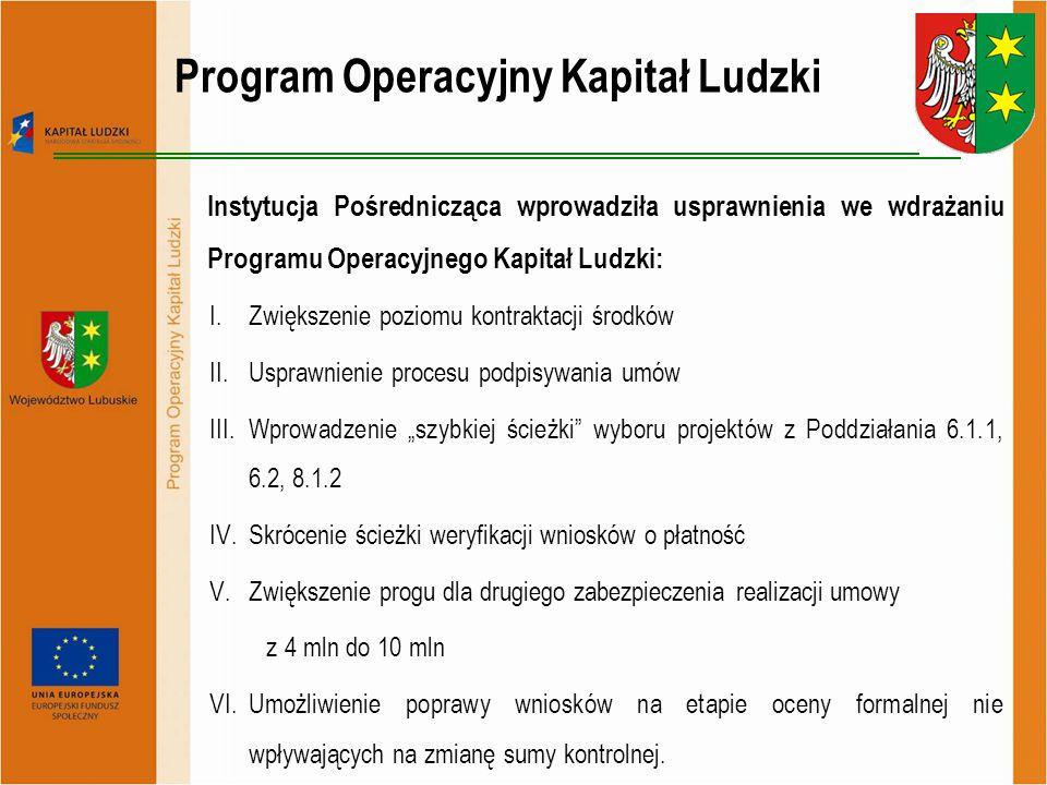 """Instytucja Pośrednicząca wprowadziła usprawnienia we wdrażaniu Programu Operacyjnego Kapitał Ludzki: I.Zwiększenie poziomu kontraktacji środków II.Usprawnienie procesu podpisywania umów III.Wprowadzenie """"szybkiej ścieżki wyboru projektów z Poddziałania 6.1.1, 6.2, 8.1.2 IV.Skrócenie ścieżki weryfikacji wniosków o płatność V.Zwiększenie progu dla drugiego zabezpieczenia realizacji umowy z 4 mln do 10 mln VI.Umożliwienie poprawy wniosków na etapie oceny formalnej nie wpływających na zmianę sumy kontrolnej."""