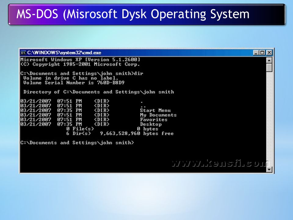 MS-DOS (Misrosoft Dysk Operating System