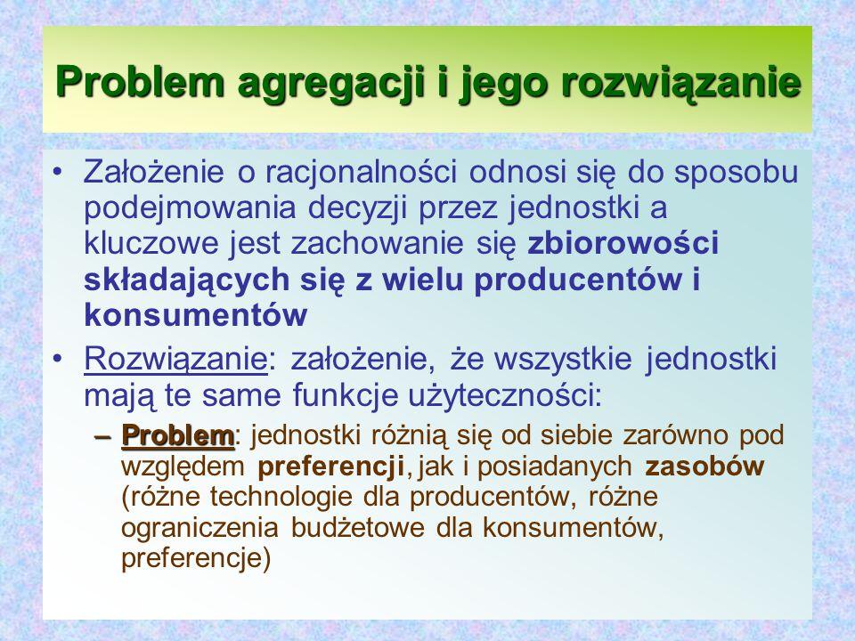 Problem agregacji i jego rozwiązanie Założenie o racjonalności odnosi się do sposobu podejmowania decyzji przez jednostki a kluczowe jest zachowanie się zbiorowości składających się z wielu producentów i konsumentów Rozwiązanie: założenie, że wszystkie jednostki mają te same funkcje użyteczności: –Problem –Problem: jednostki różnią się od siebie zarówno pod względem preferencji, jak i posiadanych zasobów (różne technologie dla producentów, różne ograniczenia budżetowe dla konsumentów, preferencje)