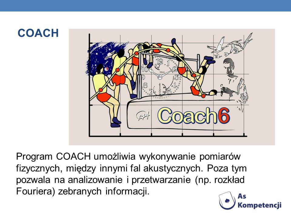 COACH Program COACH umożliwia wykonywanie pomiarów fizycznych, między innymi fal akustycznych. Poza tym pozwala na analizowanie i przetwarzanie (np. r