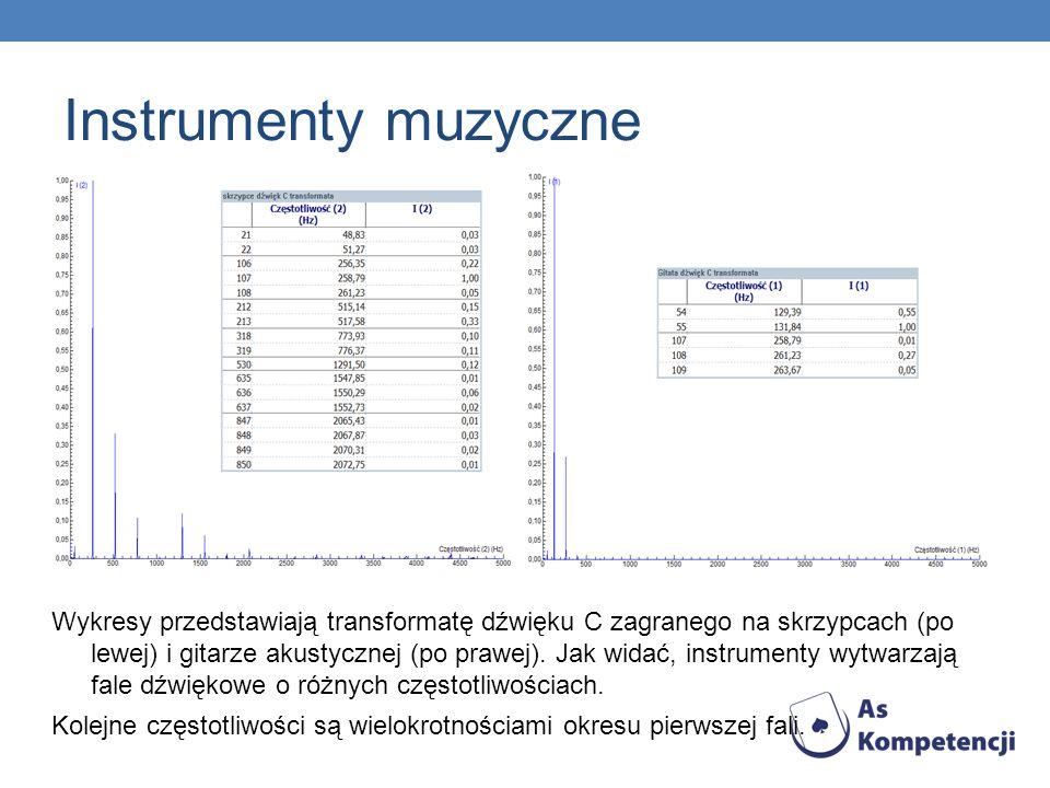 Inne dźwięki Wykresy przedstawiają natężenie i transformację Fouriera szumu