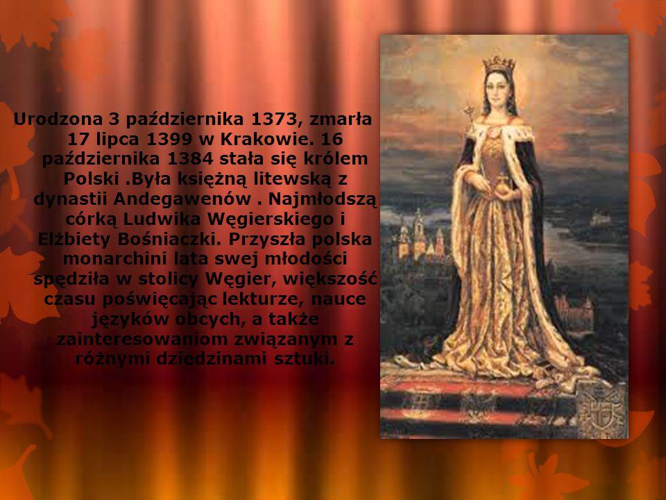 Urodzona 3 października 1373, zmarła 17 lipca 1399 w Krakowie. 16 października 1384 stała się królem Polski.Była księżną litewską z dynastii Andegawen