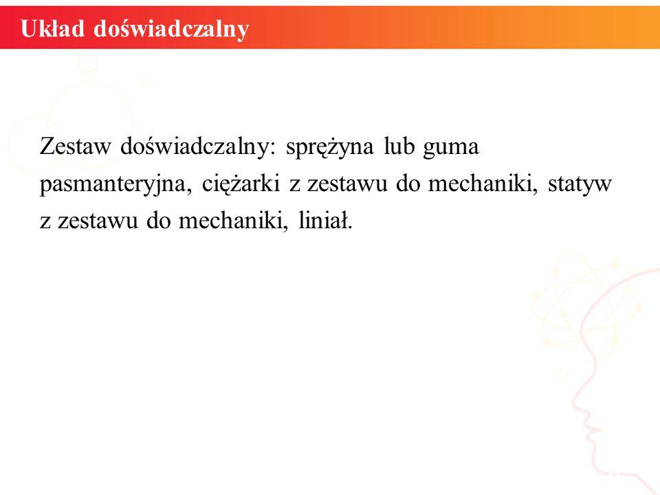 Układ doświadczalny Zestaw doświadczalny: sprężyna lub guma pasmanteryjna, ciężarki z zestawu do mechaniki, statyw z zestawu do mechaniki, liniał.