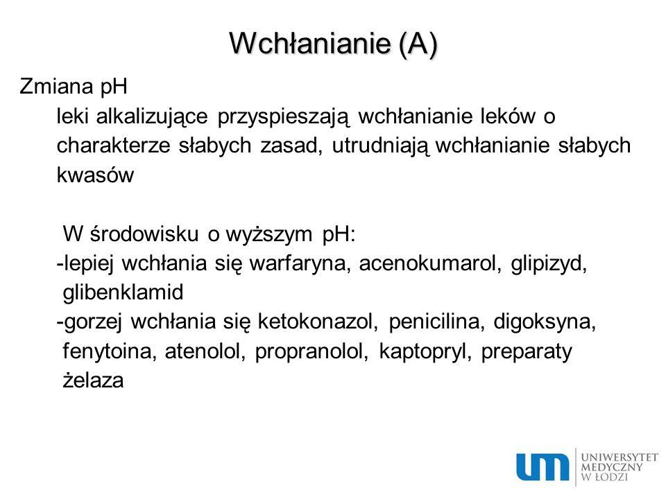 Wchłanianie (A) Zmiana pH leki alkalizujące przyspieszają wchłanianie leków o charakterze słabych zasad, utrudniają wchłanianie słabych kwasów W środo