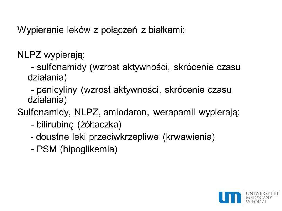 Wypieranie leków z połączeń z białkami: NLPZ wypierają: - sulfonamidy (wzrost aktywności, skrócenie czasu działania) - penicyliny (wzrost aktywności,
