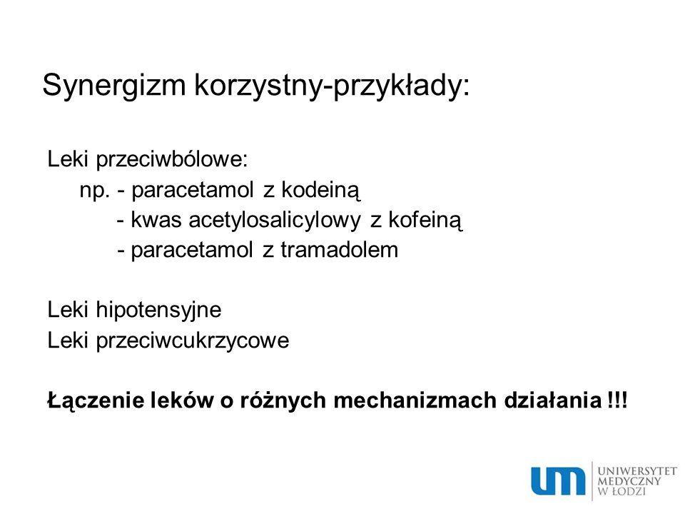 Synergizm korzystny-przykłady: Leki przeciwbólowe: np. - paracetamol z kodeiną - kwas acetylosalicylowy z kofeiną - paracetamol z tramadolem Leki hipo