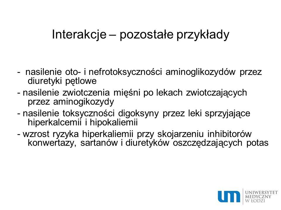 Interakcje – pozostałe przykłady - nasilenie oto- i nefrotoksyczności aminoglikozydów przez diuretyki pętlowe - nasilenie zwiotczenia mięśni po lekach