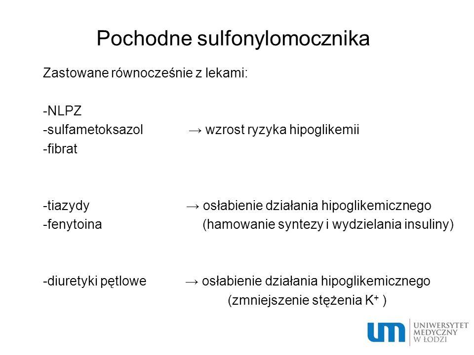 Pochodne sulfonylomocznika  Zastowane równocześnie z lekami:  -NLPZ  -sulfametoksazol → wzrost ryzyka hipoglikemii  -fibrat  -tiazydy → osłabieni