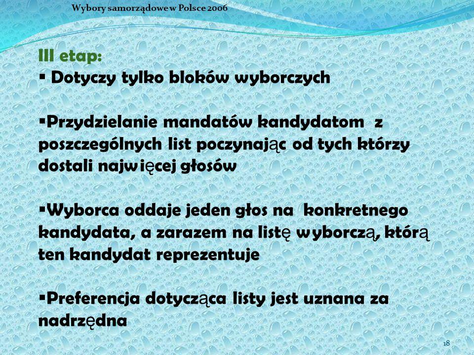 18 Wybory samorządowe w Polsce 2006 III etap:  Dotyczy tylko bloków wyborczych  Przydzielanie mandatów kandydatom z poszczególnych list poczynaj ą c