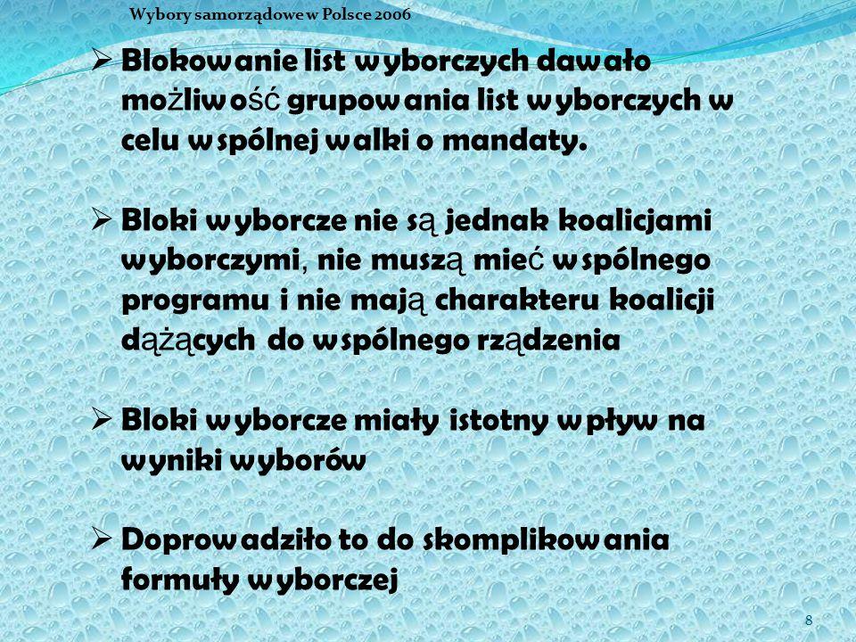 8 Wybory samorządowe w Polsce 2006  Blokowanie list wyborczych dawało mo ż liwo ść grupowania list wyborczych w celu wspólnej walki o mandaty.  Blok