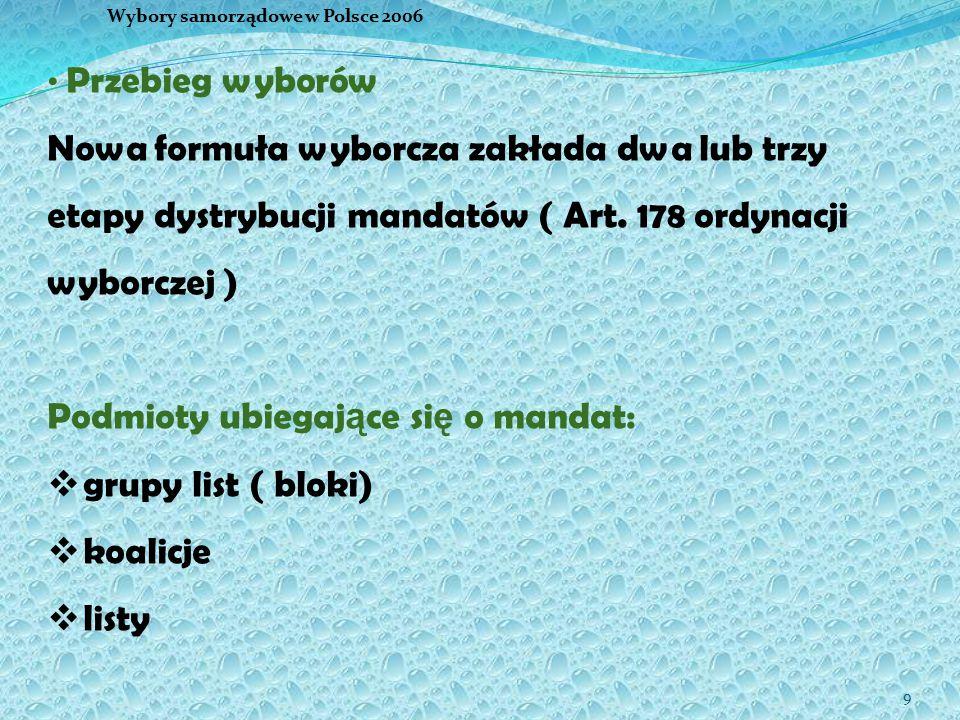 9 Wybory samorządowe w Polsce 2006 Przebieg wyborów Nowa formuła wyborcza zakłada dwa lub trzy etapy dystrybucji mandatów ( Art. 178 ordynacji wyborcz
