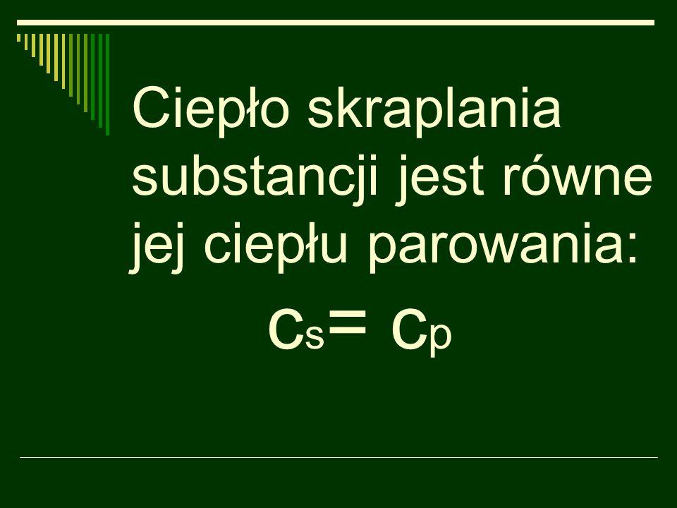 Ciepło skraplania substancji jest równe jej ciepłu parowania: c s = c p