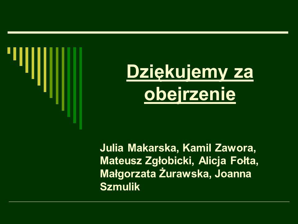 Dziękujemy za obejrzenie Julia Makarska, Kamil Zawora, Mateusz Zgłobicki, Alicja Fołta, Małgorzata Żurawska, Joanna Szmulik