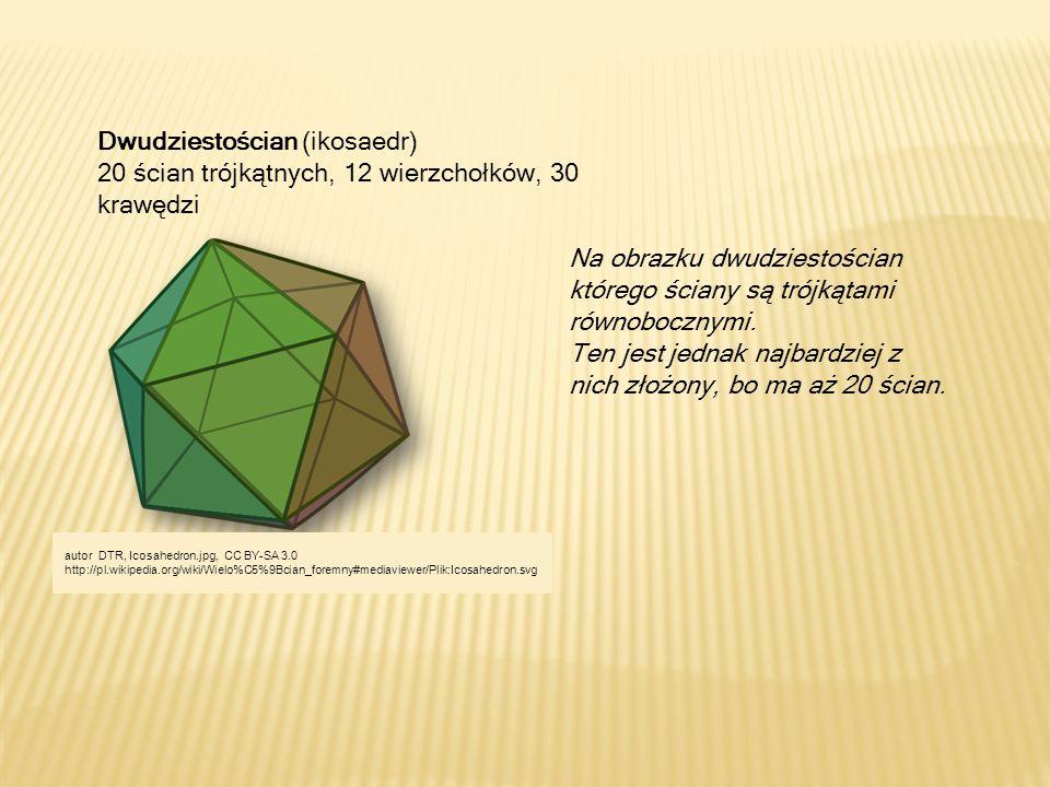 Dwudziestościan (ikosaedr) 20 ścian trójkątnych, 12 wierzchołków, 30 krawędzi Na obrazku dwudziestościan którego ściany są trójkątami równobocznymi. T