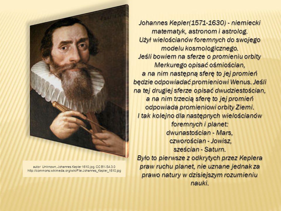 Johannes Kepler(1571-1630) - niemiecki matematyk, astronom i astrolog. Użył wielościanów foremnych do swojego modelu kosmologicznego. Jeśli bowiem na