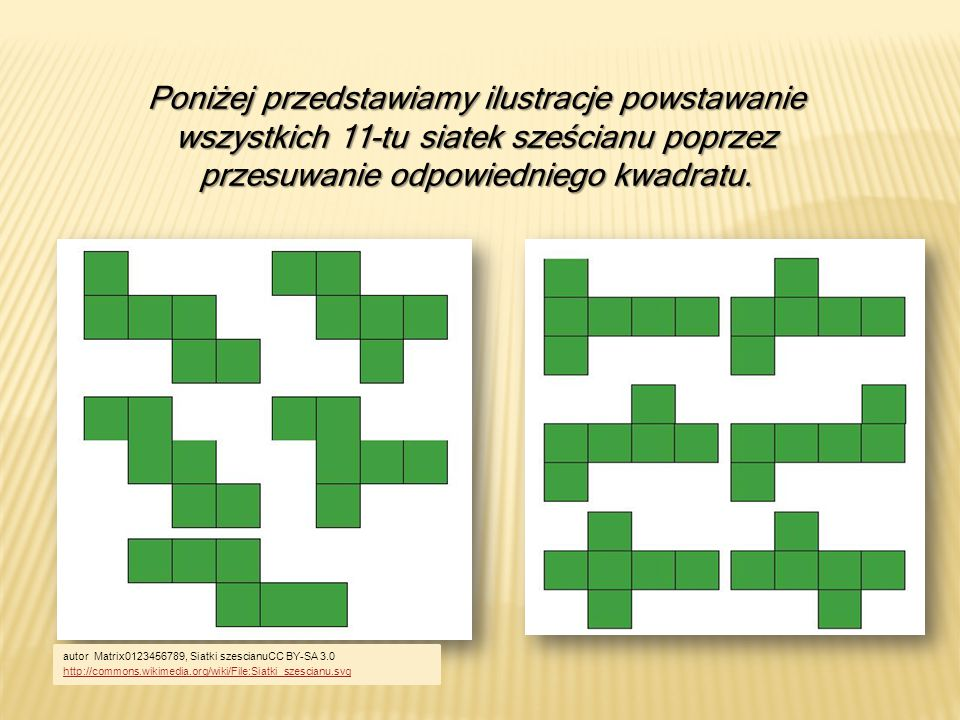 Poniżej przedstawiamy ilustracje powstawanie wszystkich 11-tu siatek sześcianu poprzez przesuwanie odpowiedniego kwadratu. autor Matrix0123456789, Sia