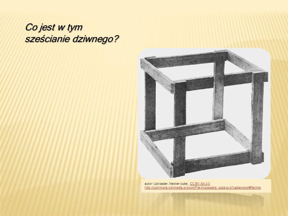 Co jest w tym sześcianie dziwnego? autor: Uploader, Necker cube, CC BY-SA 3.0CC BY-SA 3.0 http://commons.wikimedia.org/wiki/File:Impossible_cube.svg?u