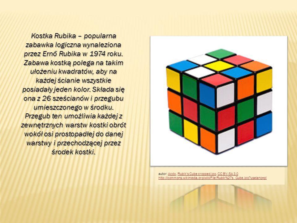 Kostka Rubika – popularna zabawka logiczna wynaleziona przez Ernő Rubika w 1974 roku. Zabawa kostką polega na takim ułożeniu kwadratów, aby na każdej