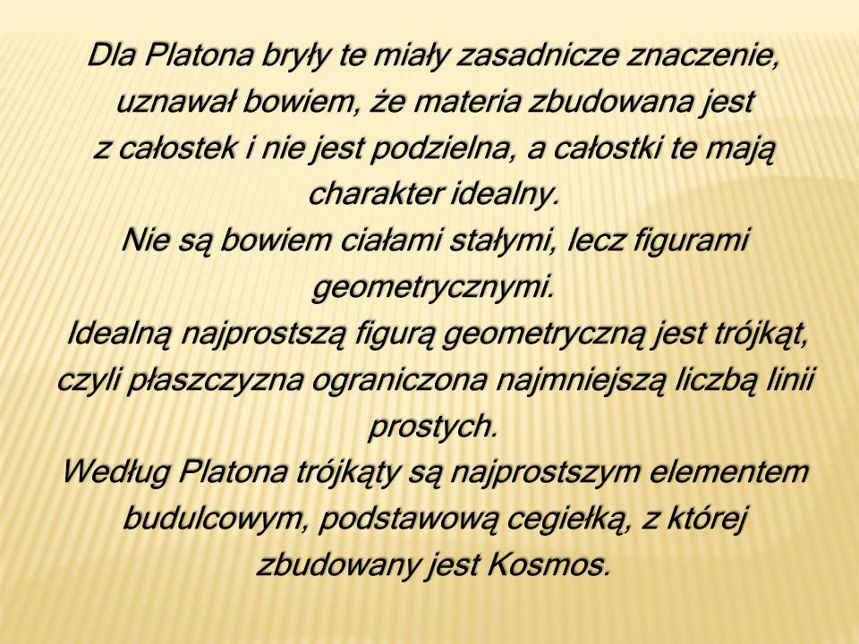Dla Platona bryły te miały zasadnicze znaczenie, uznawał bowiem, że materia zbudowana jest z całostek i nie jest podzielna, a całostki te mają charakt