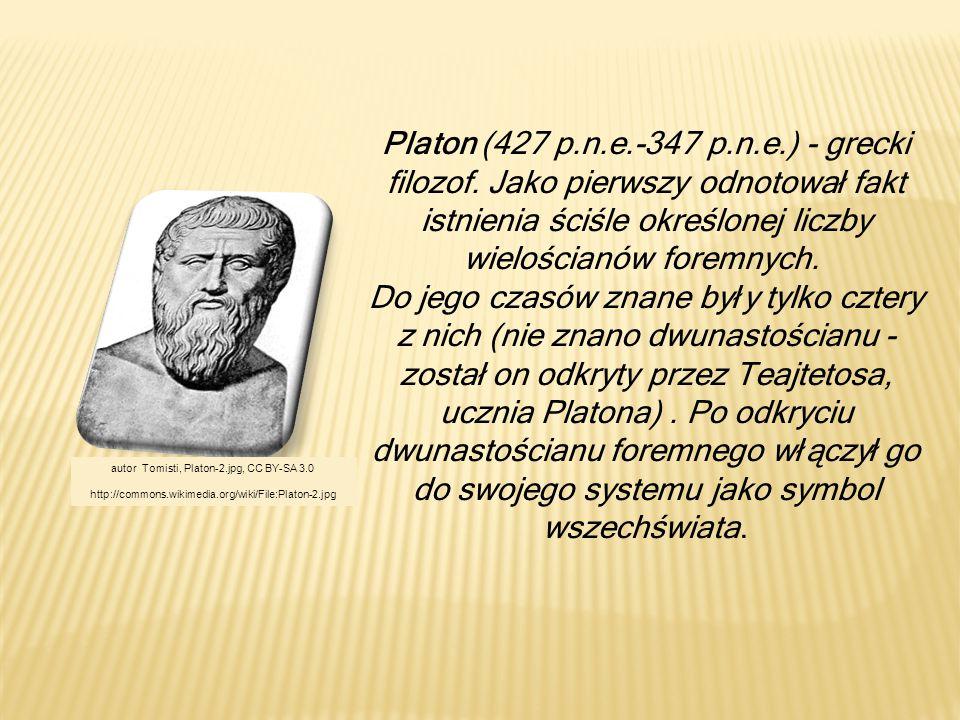 Platon (427 p.n.e.-347 p.n.e.) - grecki filozof. Jako pierwszy odnotował fakt istnienia ściśle określonej liczby wielościanów foremnych. Do jego czasó