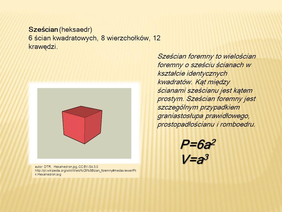 Sześcian (heksaedr) 6 ścian kwadratowych, 8 wierzchołków, 12 krawędzi. Sześcian foremny to wielościan foremny o sześciu ścianach w kształcie identyczn