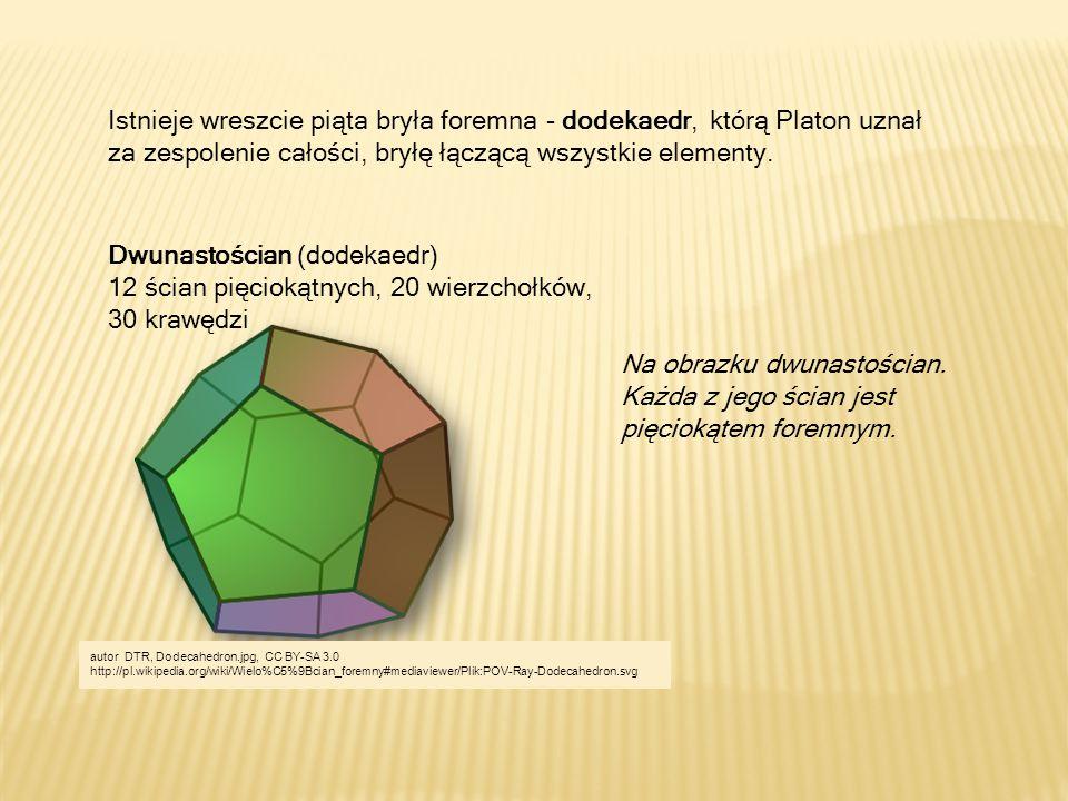 Istnieje wreszcie piąta bryła foremna - dodekaedr, którą Platon uznał za zespolenie całości, bryłę łączącą wszystkie elementy. Dwunastościan (dodekaed