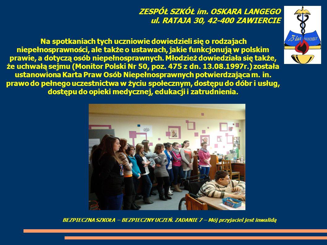 Na spotkaniach tych uczniowie dowiedzieli się o rodzajach niepełnosprawności, ale także o ustawach, jakie funkcjonują w polskim prawie, a dotyczą osób niepełnosprawnych.