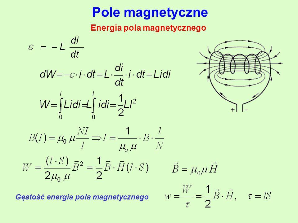 Pole magnetyczne Gęstość energia pola magnetycznego Energia pola magnetycznego