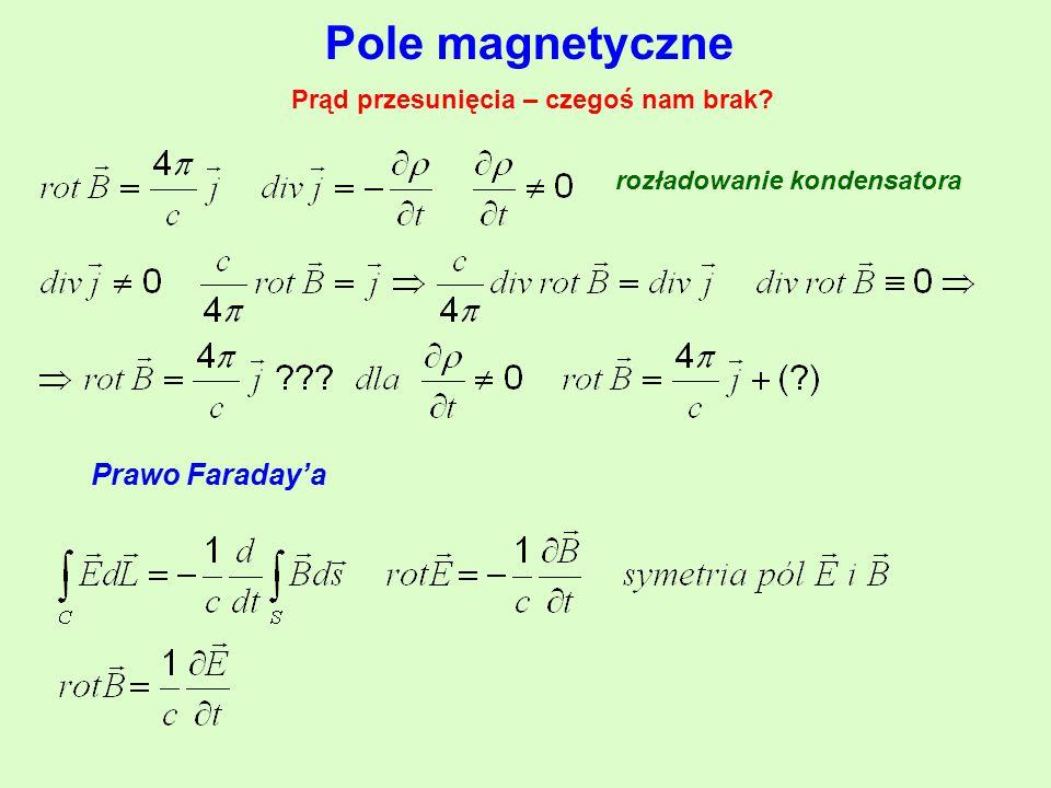 Pole magnetyczne Prąd przesunięcia – czegoś nam brak? rozładowanie kondensatora Prawo Faraday'a