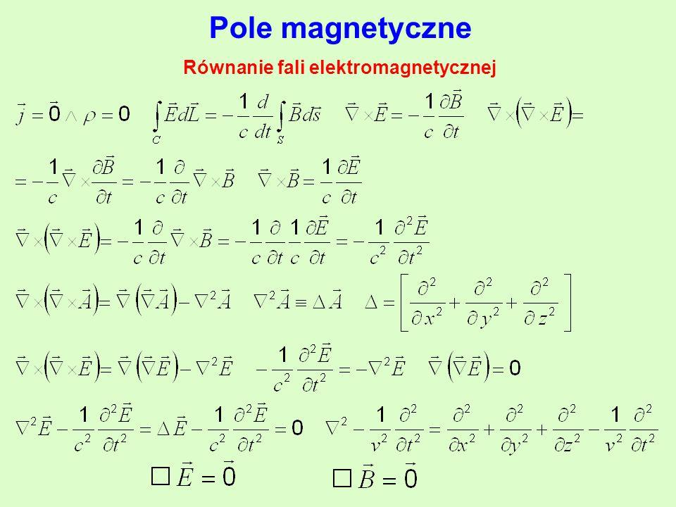 Pole magnetyczne Równanie fali elektromagnetycznej