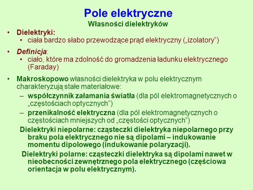 """Pole elektryczne Własności dielektryków Dielektryki: ciała bardzo słabo przewodzące prąd elektryczny (""""izolatory"""") Definicja: ciało, które ma zdolność"""