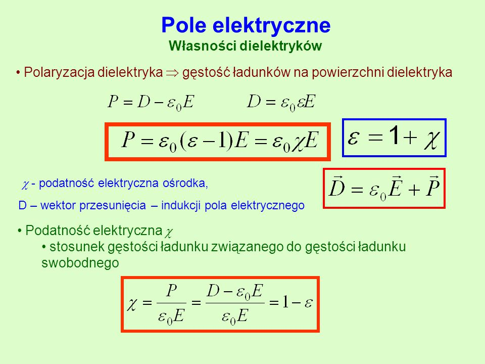 Pole elektryczne Własności dielektryków Polaryzacja dielektryka  gęstość ładunków na powierzchni dielektryka  - podatność elektryczna ośrodka, D – w