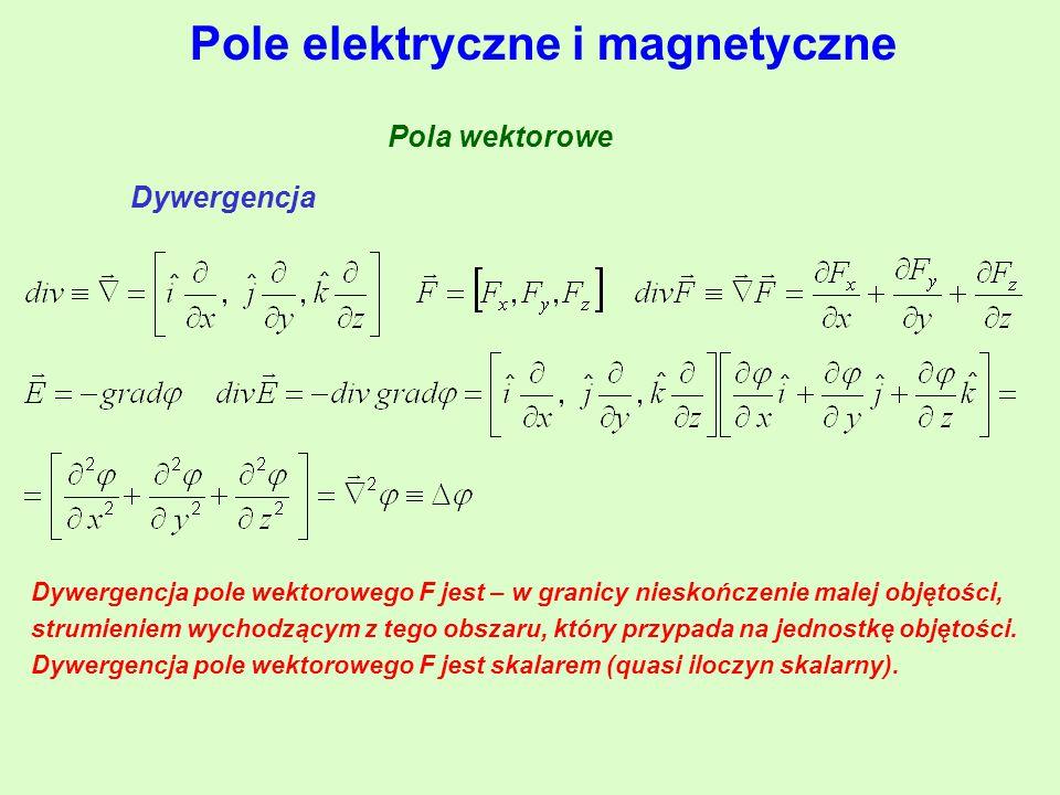 Pola wektorowe Dywergencja Dywergencja pole wektorowego F jest – w granicy nieskończenie malej objętości, strumieniem wychodzącym z tego obszaru, któr