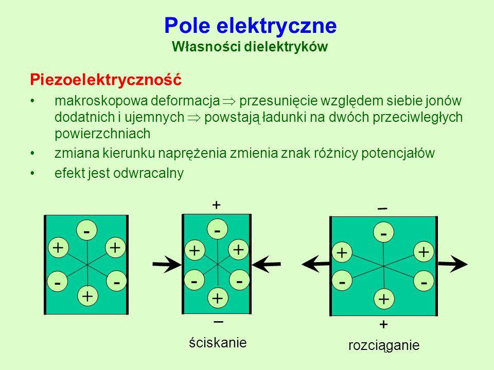 Pole elektryczne Własności dielektryków Piezoelektryczność makroskopowa deformacja  przesunięcie względem siebie jonów dodatnich i ujemnych  powstaj