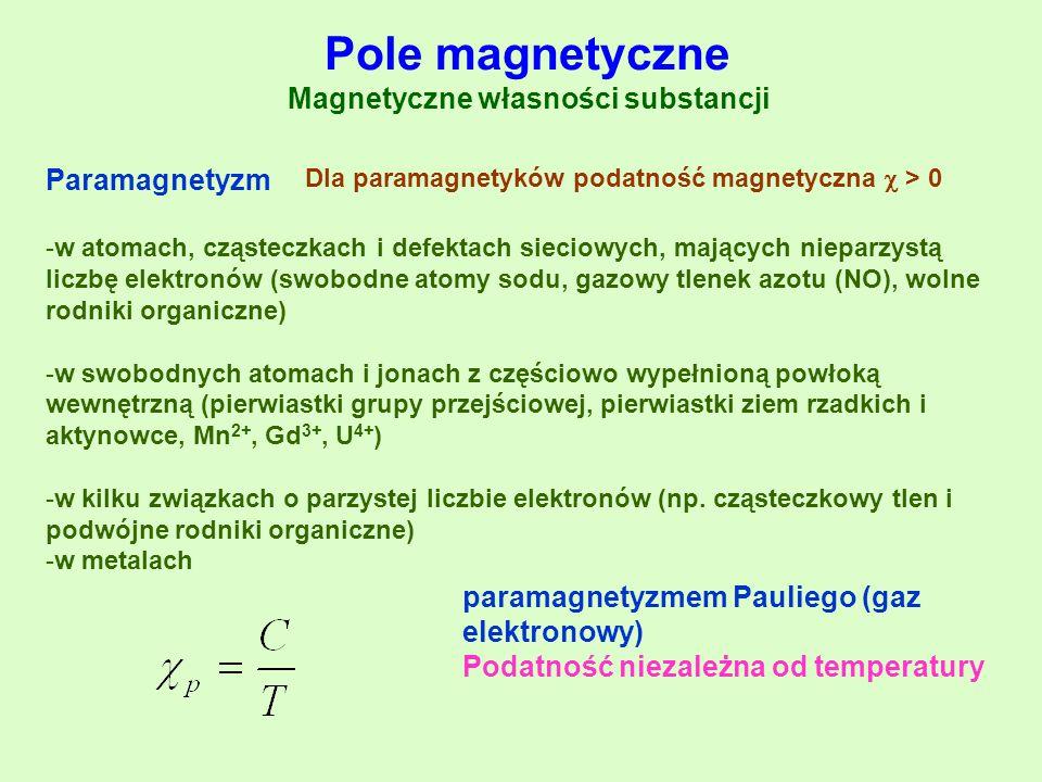 Paramagnetyzm -w atomach, cząsteczkach i defektach sieciowych, mających nieparzystą liczbę elektronów (swobodne atomy sodu, gazowy tlenek azotu (NO),