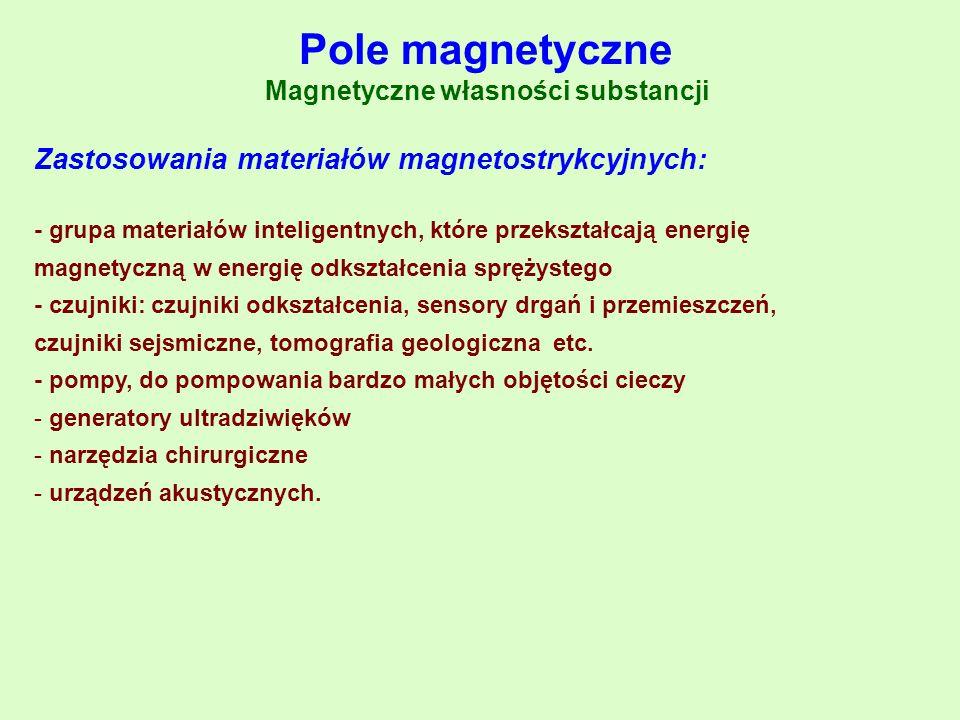 Zastosowania materiałów magnetostrykcyjnych: - grupa materiałów inteligentnych, które przekształcają energię magnetyczną w energię odkształcenia spręż