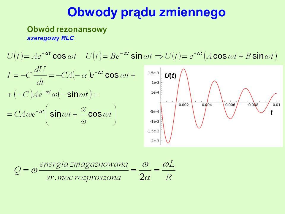 Obwody prądu zmiennego Obwód rezonansowy szeregowy RLC U(t)U(t) t
