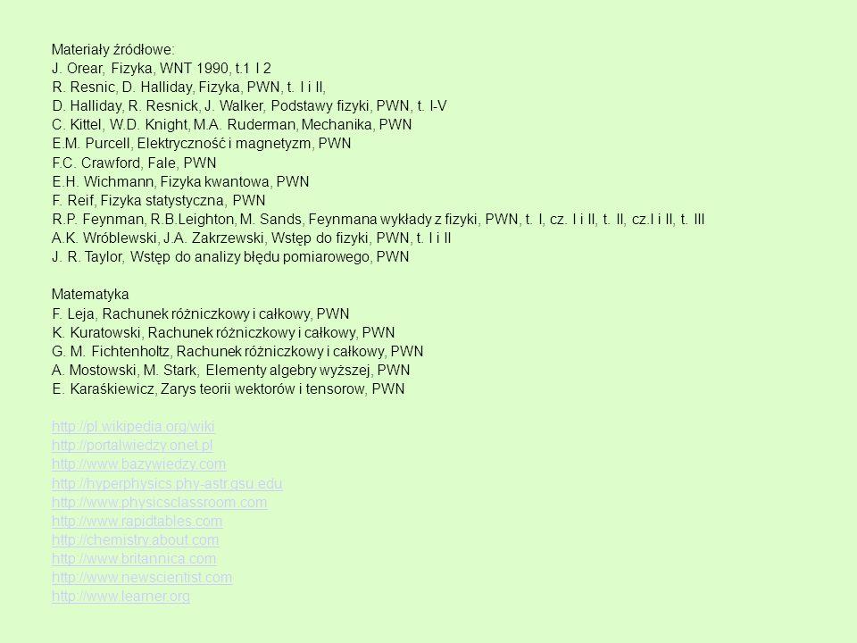 Materiały źródłowe: J. Orear, Fizyka, WNT 1990, t.1 I 2 R. Resnic, D. Halliday, Fizyka, PWN, t. I i II, D. Halliday, R. Resnick, J. Walker, Podstawy f